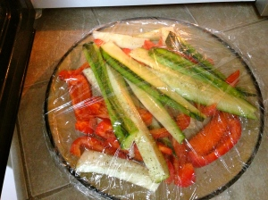 veggies ready to steam in the microwave before roasting