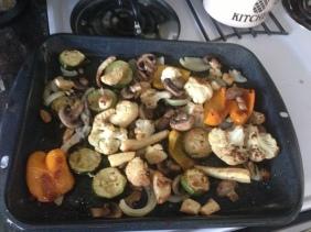 cauliflower, peppers, mushrooms, zucchini, parsnips, onions
