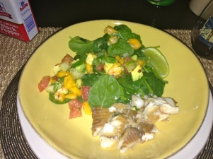 my paleo spinach salad with papaya salsa and tilapia