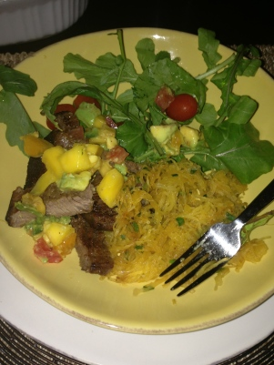 dead steak smothered in leftover mango-avocado salsa with a side of spaghetti squash