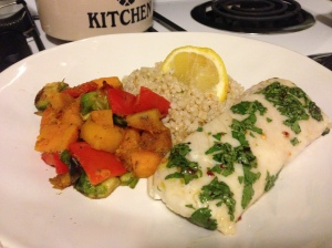 persian lime hake with dill lemon rice and butternut vegetable mediey
